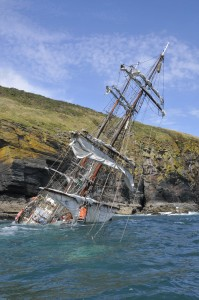 Tall Ship driven ashore